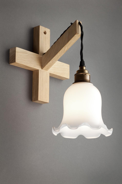 Oak Glass Wall Light