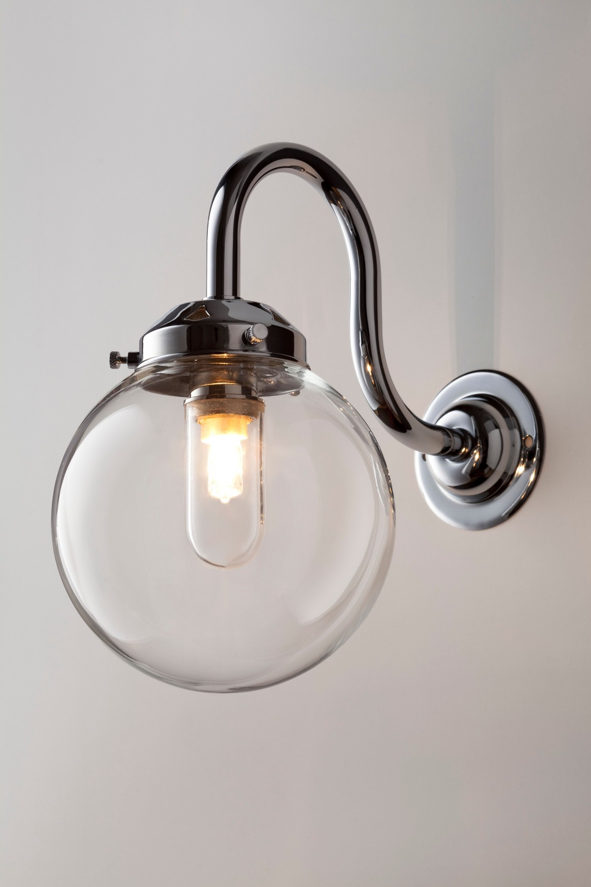 Swan Arm Glass Wall Light Old School Electric